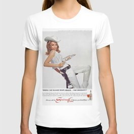 Vodka Martini - Julie Newmar Cowgirl - When I say Bloody Mary...Alcoholic Beverages Vintage Poster T-shirt