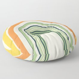 Abstract and Colorful Line Art   Colorful Arches   Yellow, Orange, Green Floor Pillow