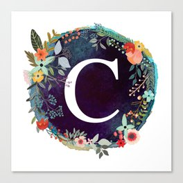 Personalized Monogram Initial Letter C Floral Wreath Artwork Canvas Print