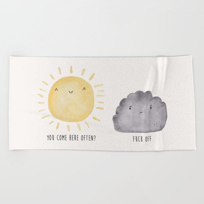 The Sun and the Rain-cloud (Watercolour) Beach Towel