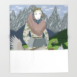 Lady with an owl and a dog Throw Blanket