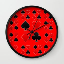 RED & BLACK PLAYING CARD ART ON RED Wall Clock
