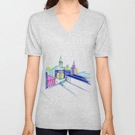 Vibrant city Unisex V-Neck