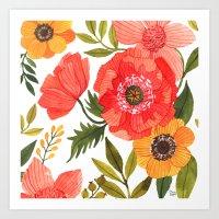 oana befort Art Prints featuring FLOWER POWER by Oana Befort