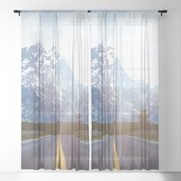Mountain Road - Grand Tetons Nature Landscape Photography Sheer Curtain