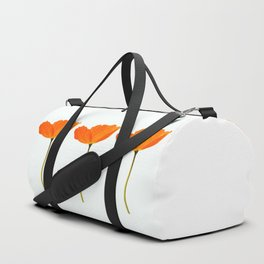 Three Orange Poppy Flowers White Background #decor #society6 #buyart Duffle Bag