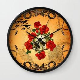 Skull with roses Wall Clock