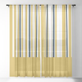 Mustard Yellow Navy Blue and White Half Stripe Color Block Pattern Sheer Curtain