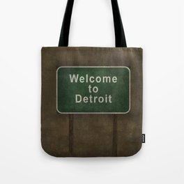 Welcome to Detroit highway road side sign Tote Bag