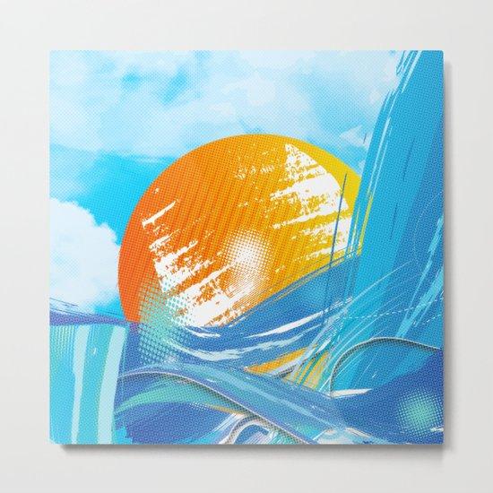 The sea absorbs the sun - Raster abstract Metal Print