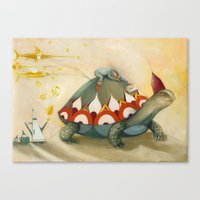 turtle Canvas Prints featuring Turtle by Darja Charapova