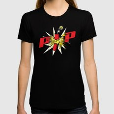 Firecracker POP Art Black Womens Fitted Tee MEDIUM