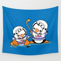 hockey Wall Tapestries featuring Ice Hockey Penguins by joanfriends
