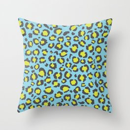 Blue and Neon Yellow Leopard Print Animal Print Cheetah Print Throw Pillow