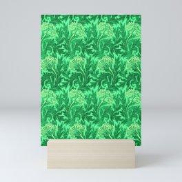 Jacobean Flower Damask, Emerald and Lime Green Mini Art Print