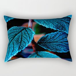 Peacock Blue Leaves Nature Background #decor #society6 #buyart Rectangular Pillow