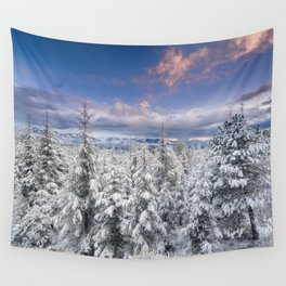 """Mountain light"". Snowy forest at sunset Wall Tapestry"