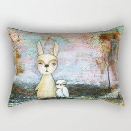 My Best Friend, Rabbit Owl Painting Rectangular Pillow