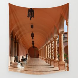 Pink Marble Arcade At Ringling Museum Wall Tapestry