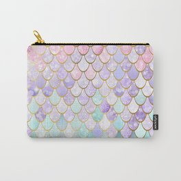 Iridescent Mermaid Pastel and Gold Carry-All Pouch