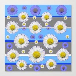 DECORATIVE BLUE MODERN ART WHITE SHASTA DAISIES Canvas Print