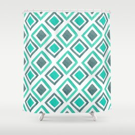 Watercolor Geomtric Pattern - Mint & Gray Shower Curtain