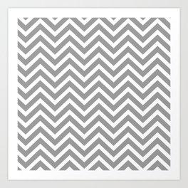 Chevron Pattern - Grey and White Art Print