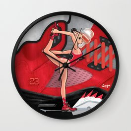 Yoga girl Cool Noodle and Ranging Bulls Wall Clock