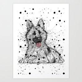 Scribble German Shepherd Art Print