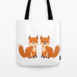 cute fox, boy and girl with funny face and fluffy tails on white background Tote Bag