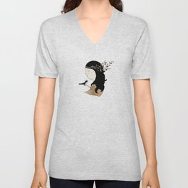 Girl with magpie Unisex V-Neck