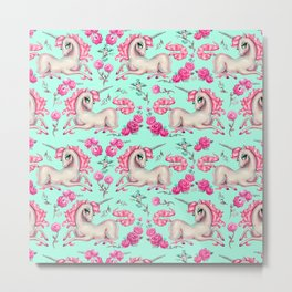 Unicorns and Roses on Mint Metal Print