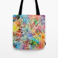 manchester Tote Bags featuring Manchester England Street Map by artPause