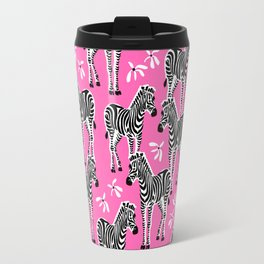 zebras on pink Travel Mug