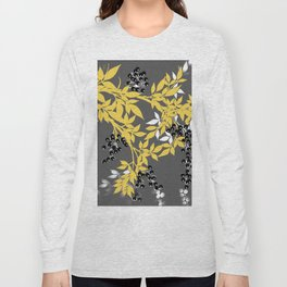 TREE BRANCHES YELLOW GRAY  AND BLACK LEAVES AND BERRIES Long Sleeve T-shirt