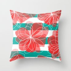 Camelia Coral and Turquoise Throw Pillow
