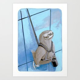 Sloths Are Bad At Things- Xander the Window Washer!  Art Print