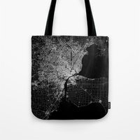 detroit Tote Bags featuring Detroit map  by Line Line Lines