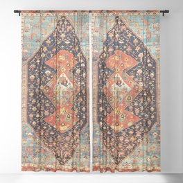 Bakshaish Antique Persian Carpet Print Sheer Curtain