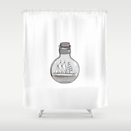Graphic . Geometric Shape Black Ship in a Bottle 5 Shower Curtain