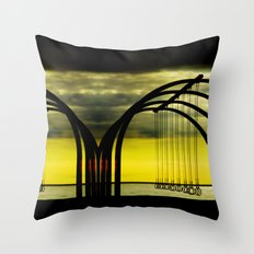 Beach Rings on Santa Monica Beach Throw Pillow