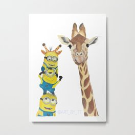 Giraffe Minion Metal Print