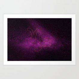 Capricorn zodiac sign, night sky,Horoscope Astrology background,Capricorn horoscope symbol, violet horoscope Art Print