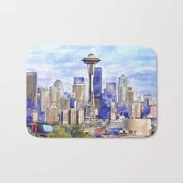Seattle View in watercolor Bath Mat