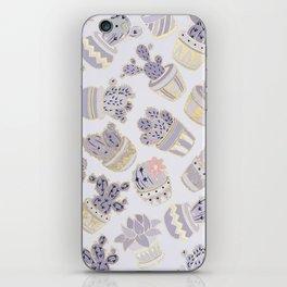 Elegant modern faux gold lavender pink cactus floral iPhone Skin