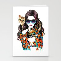 kenzo Stationery Cards featuring Kenzo Girl by Sunny Gu