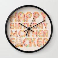 happy birthday Wall Clocks featuring Happy Birthday by Vickn