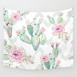 Cactus Chevron Southwestern Watercolor Wall Tapestry