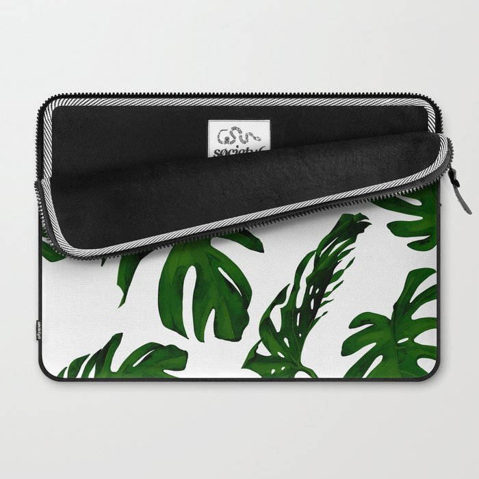 Simply Tropical Palm Leaves in Jungle Green Laptop Sleeve