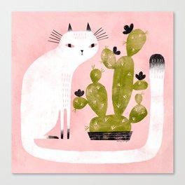 CAT & CACTUS Canvas Print